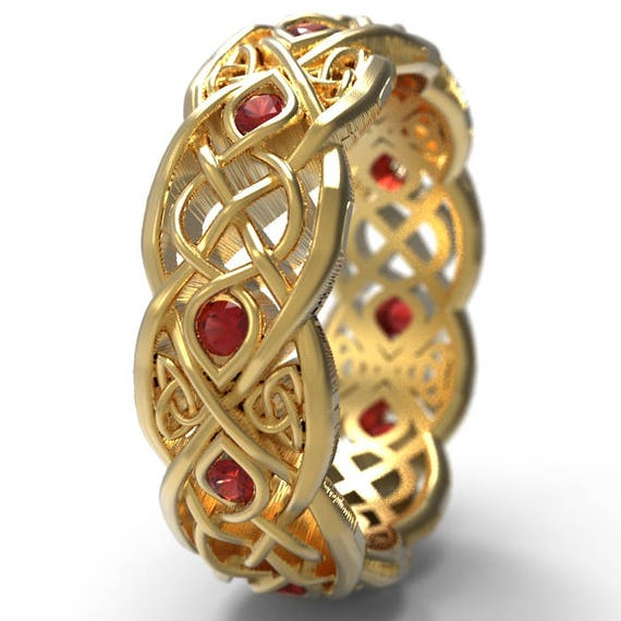Infinity Wedding Band With Rubies, Gold Celtic Ring, Unique Wedding Ring, Celtic Wedding Band, Made 10K 14K 18K Gold Palladium Plat CR1052