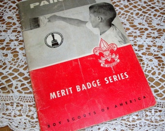 Vintage Merit Badge Series, Painting, Boy Scouts of America, Badges, Scouting Reference and Guide Book, 1964  (658-14)