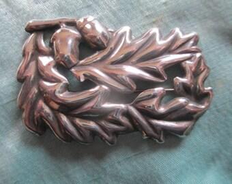 Vintage 1940's Sterling Silver Oak Leaf & Acorn Brooch
