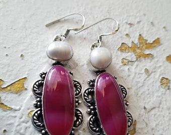 Pink Botswana Agate and Biwa Pearl Earrings!