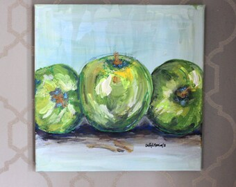 Granny Smith Apples Acrylic Still Life Original Painting