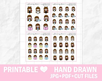 Hand drawn chibi girls 16/ECLP/EC vertical/basic functional printable planner stickers/pdf, jpg, silhouette cut files/cute kawaii character