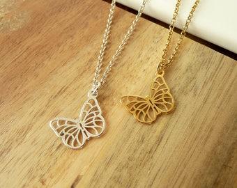 Tiny Butterfly Necklace Silver/Gold,  Butterfly Pendant Necklace,  Sterling Silver Necklace, Minimalist Necklace, Minimalist Necklace