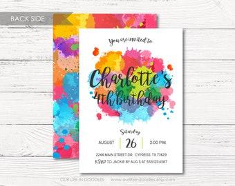 Art Invitation, Paint Party Invitation, Printable Birthday Invitation, Art Birthday Party, Rainbow Art Party, Watercolor Splash Paint Card