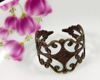 SALES - 60 percent off - Beautiful Lace - Brass Lace Filigree Ring