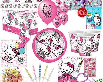 Hello Kitty Party Kit For 8 Guests With Pre Filled Party Bags, Pass The Parcel, Banner, Balloons & Tableware Set With Downloadable Games