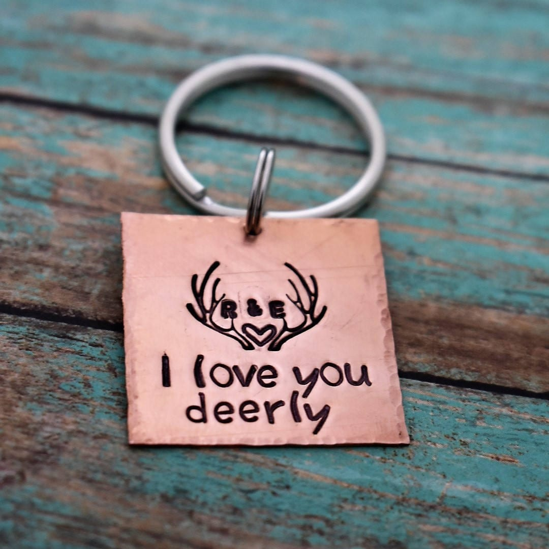 I Love You Deerly Hand Stamped Personalized Antler Keychain