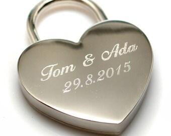 Engraved lock // Love padlock // Custom Lock // Heart Love Padlock // Wedding gift // Personalized Padlock // gift //