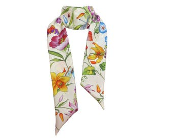 Silk Scarf, Haute Couture, skinny, ecru purple flower aa green red blue, narrow neck neckerchief floral flower; bow tie cream Maxi Twilly
