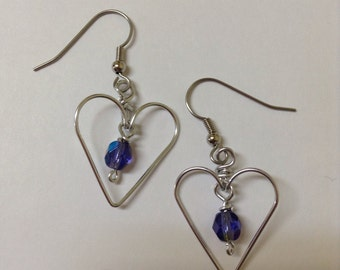 Wire Heart Earrings with Beads