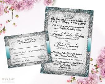 Fairy Tale Wedding Invitation Suite Vintage Gold Ornate Wedding Printable Invitation Royal Wedding Invite Once Upon a Time Fairytale DIY