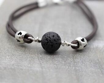 Aromatherapy leather bracelet - Sterling Silver Bracelet - Gift for Her - Lava Bead - Leather Bracelet - Aromatherapy
