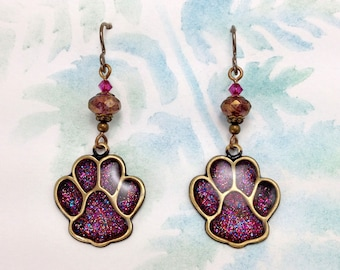 Fuchsia Pink & Gold Paw Print Earrings with Niobium Earwires