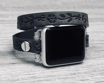 Black Vegan Leather Bracelet for Apple Watch All Series Handmade DoubleWrap Eco Friendly Flowers Embossed Apple Watch Band Jewelry Wristband