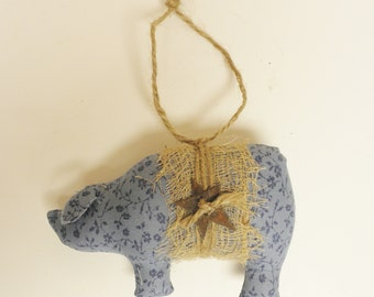 Blue Calico Pig Ornament - Ready To Ship, Pig Ornaments, Primitive Pigs, Spring Decor, Country Farmhouse Decor