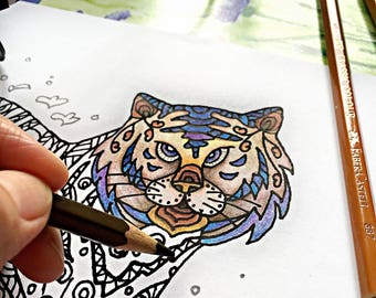 zentangle tiger printable coloring page ~ animal - Instant Download only, Art Printable illustrations