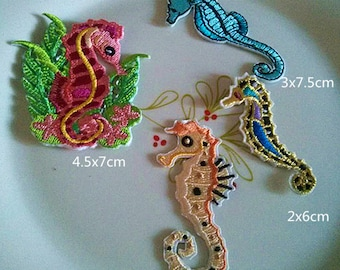 Wholesale lot  12pcs marine animal   seahorse  embroidered iron on patch