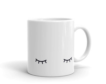 sleeping eyes mug, closed eyes cup