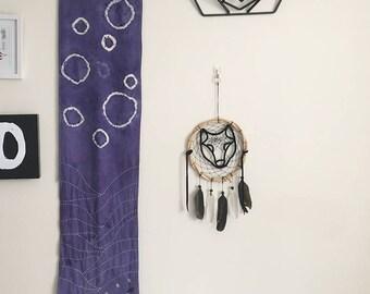 Shibori inspired dying & sashiko stitched wall hanging