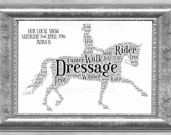 Dressage Showing Horse and Rider Word Art Print Personalised Gift Christmas Birthday