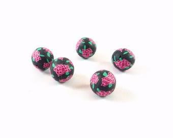 5 flower black beads and pink polymer (DP1)