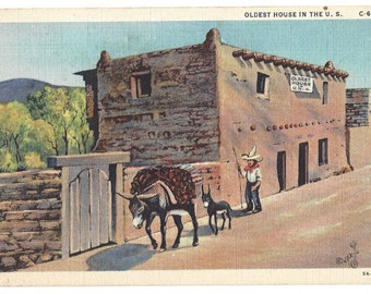 Vintage One Cent Postcard - Oldest House in the United States - Santa Fe New Mexico