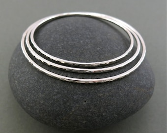 Thick Sterling Silver Hammer Textured Stacking Bangle