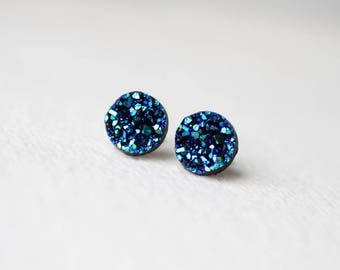 BUY 2 GET 1 FREE Deep Blue Faux Druzy Studs - Metallic Shimmer - Faux Raw Crystal Post Earrings - Sparkling Jewelry