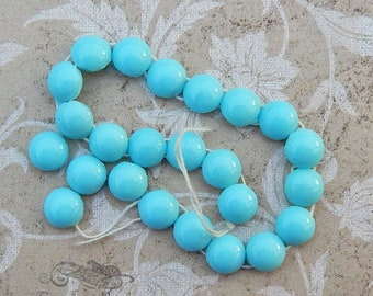 Vintage Glass Sew On Beads, Strand of Opaque Sky Blue Bohemian Glass Nailheads or Sewons with 2 Holes, 7mm Round Domed Top, Antique, 24 pc