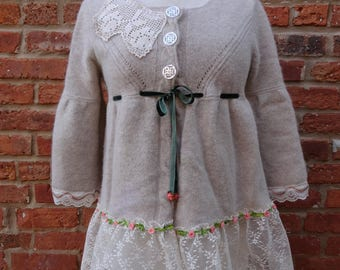 Boho Sweater,Shabby Chic Sweater,Romantic Sweater,Upcycled Sweater,Nine Muses Of Crete