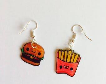 Burger and fries kawaii plastic earrings crazy earrings