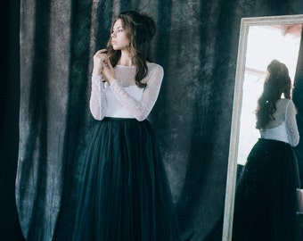 Black wedding dress Black boho bridal gown Lace and tulle