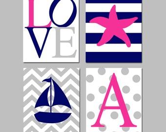 Baby Girl Nautical Nursery Art Chevron Stripe Beach Quad - Love, Starfish, Sailboat, Initial - Set of Four 8x10 Prints - CHOOSE YOUR COLORS