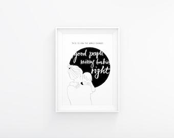 "Pencil illustration mother and baby. Nursery decor. Printable poster 8x10"". Modern minimalist chic design."