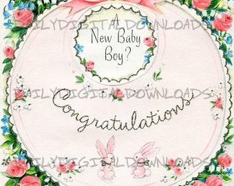 New Baby Boy Congratulations  Retro Vintage Greeting Card Design Art Illustration Digital Download