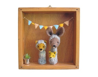 Kid's Room Decor / Nursery Wall Art, Needle Felted Kangaroo and Fox  Finger Puppets in a Vintage Wooden Box, Eco Friendly Toy, Wall Hanging