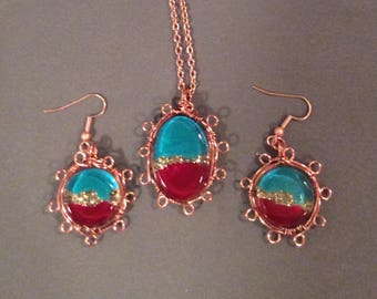 Copper and resin necklace and earrings  set