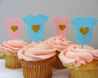 Pink and Blue Baby Onesie Topper (12ct)- Pink and Blue Baby Shower Decor, Gender Reveal Cupcake Topper, Pink and Blue Glitter Topper, Onesie