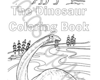 Dinosaur Coloring Book 40 Printable Pages Instant Download PDF Dino Birthday Party Favors Activity Page Color Theme
