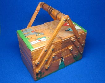Vintage sewing caddy from Mexico , folk art , tlaquepaque style.