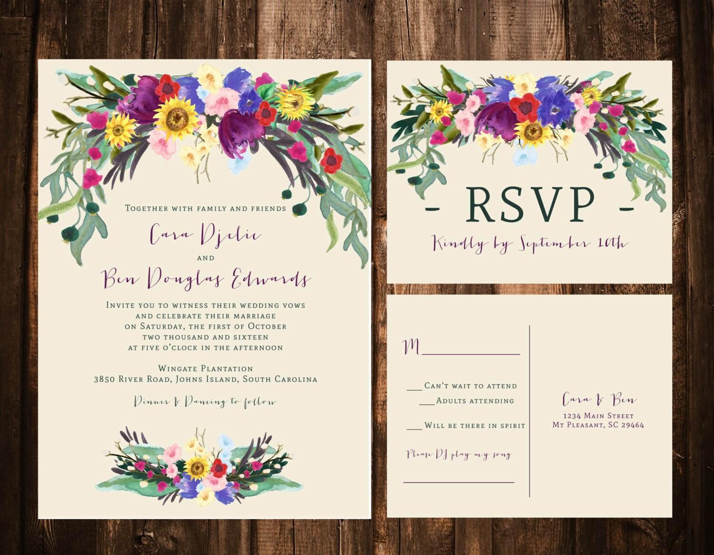 Fall Bohemian Floral Wedding Invitations Sunflower Wedding