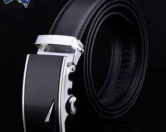 Genuine Leather Automatic Lock Silver Black Leaf Buckle Fashion Dress Belt