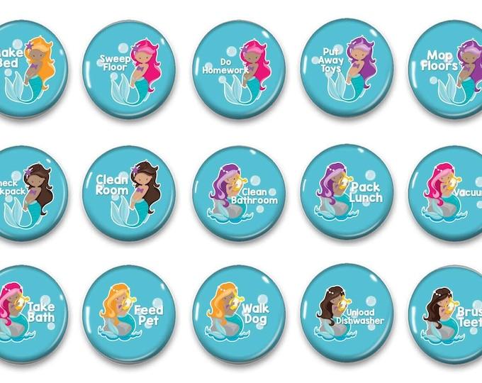 Mermaid Chore Magnets - Kids Job Magnets - Girl Chore Magnets - Family Organization - Chore Chart Magnets - Visual Routine