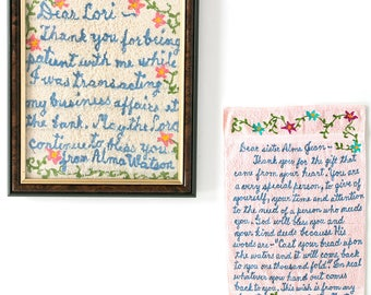 Two Vintage EMBROIDERED CORRESPONDENCE LETTERS, Sisters, Folk Outsider Art