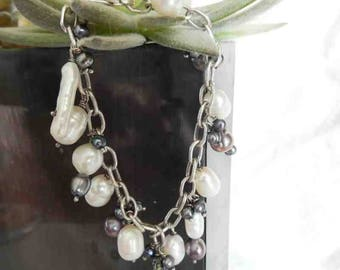 Pearl Bracelet Sterling Silver Chain Bracelet Gray and White Baroque Pearls