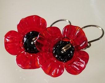 Poppy Earrings ~ Glass Lampwork Earrings