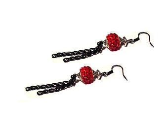 Retro earrings, pair of red and black