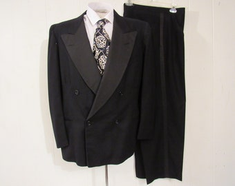 Vintage tuxedo, 1950s tux, double breasted tux, vintage clothing, 42