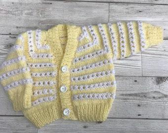 Baby cardigan, baby sweater, hand knitted baby cardigan, lemon baby cardigan, 0-3 months