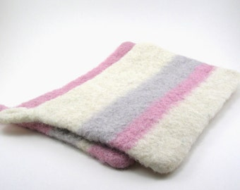 Felted wool pot holders - wool hot pads - potholder set - petal pink, cream and smoke gray